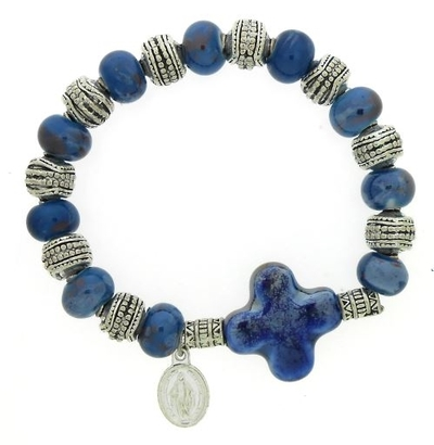 Bel-Art - armband elastiek glas blauw